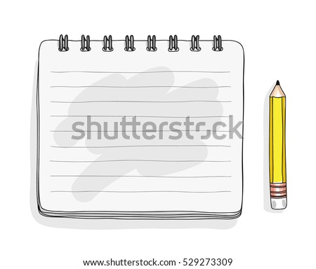 notebook and yellow Pencil hand drawn art cute vector illustration