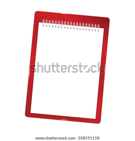 notebook blank with spiral vector red illustration - stock vector