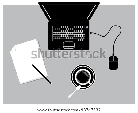 notebook coffee pad and mouse - illustration