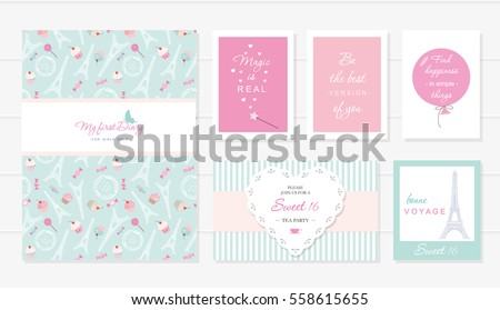 Notebook cover and cards design for teenage girls. Paris theme, wise quotes. Included seamless pattern with Eiffel tower, cupcakes and sweets on pastel green.