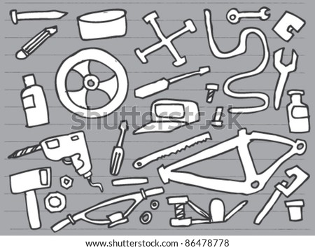 Notebook Doodle bicycle repair Clip art Design Elements