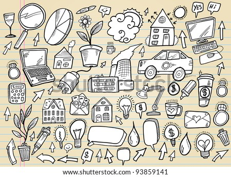 Notebook Doodle Business and Technology Design Elements Mega Vector Illustration Set