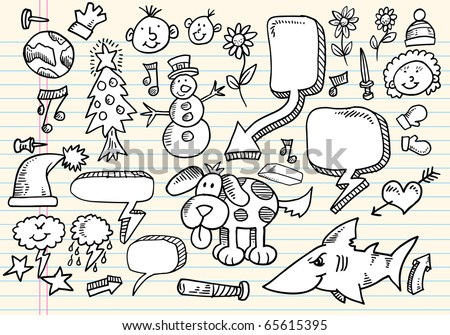 Notebook Doodle Clip art Design Elements Mega Vector Illustration Set - stock vector