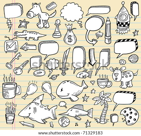 Notebook Doodle Clip art Design Elements Mega Vector Illustration speech bubble Set
