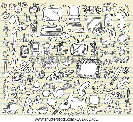 notebook doodle design elements