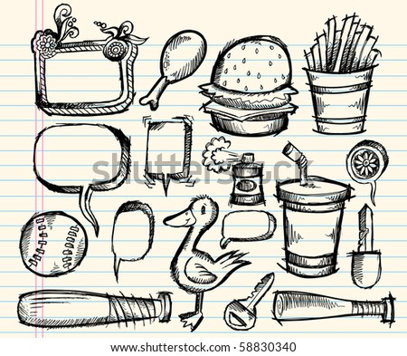 Notebook Doodle sketch Clip art Design Elements Mega Vector Illustration Set