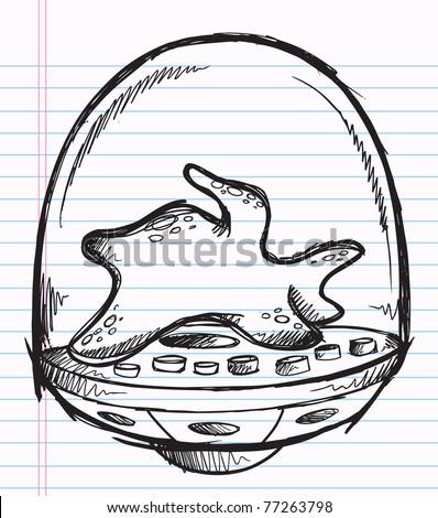 Notebook Doodle Sketch Cyborg Robot Space Alien Blob Vector Illustration