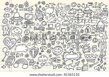 Notebook Doodle Sketch Design Elements Mega Vector Illustration Set - stock vector