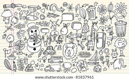 Notebook Doodle Sketch Design Elements Mega Vector Illustration Set