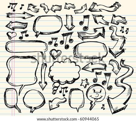 Notebook Doodle Sketch Speech Bubble Arrow Vector Illustration Set