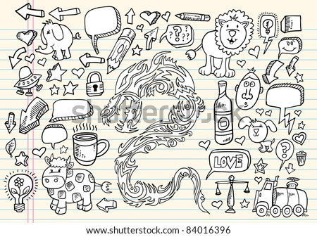 Notebook Doodle Speech Bubble Design Elements Mega art Vector Illustration Set  Dragon Tattoo sketch