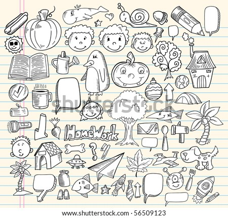 Notebook Doodle Speech Bubble Design Elements Mega Vector Illustration Set - stock vector