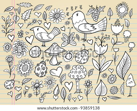 Notebook Doodle Spring Time Design Elements Mega Vector Illustration Set