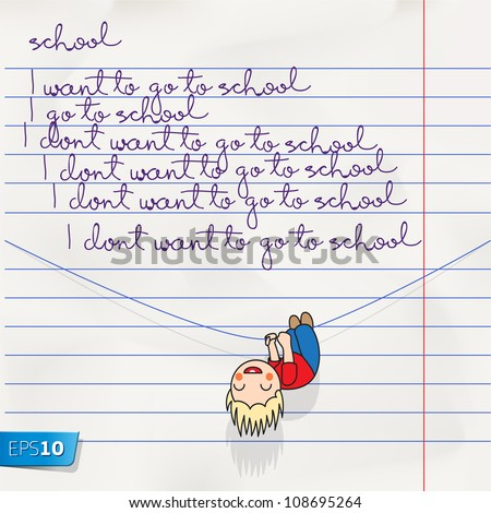 Notebook doodles page with lettering back to school, vector Eps 10 illustration.