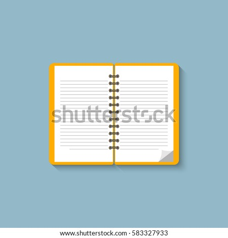 Notebook. Flat design. Notebook on blue background. Open notepad. Vector icon