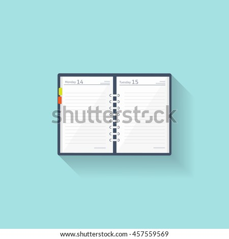 notebook in a flat style