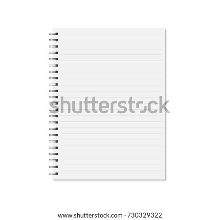 Notebook mock up isolated on white background. Lined pages, copybook with metal spiral template. Realistic closed notebook vector illustration.