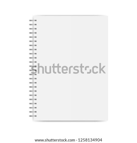 Notebook mockup isolated on white background - top view. Vector illustration