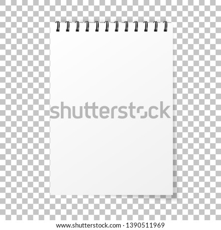 Notebook mockup. Note with spiral. Notebook realistic style. Notepad empty paper. Vector illustration