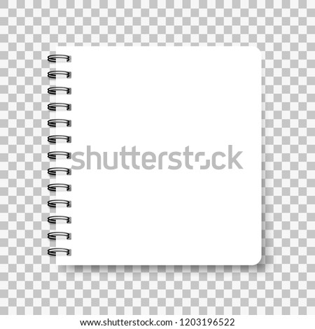 Notebook mockup, with place for your image, text or corporate identity details. Blank mock up with shadow on transparent background. Vector illustration.