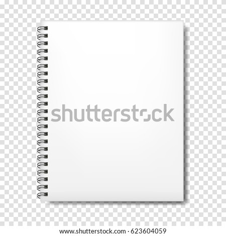 Notebook mockup with place for your text or image. Blank mockup with shadow.