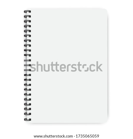 Notebook on a spiral. Knitted, bound, white paper. Vector image of notepad in mocap style. Stock Photo. Stockfoto ©