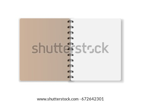 notebook on white  background blank paper cover vector illustration