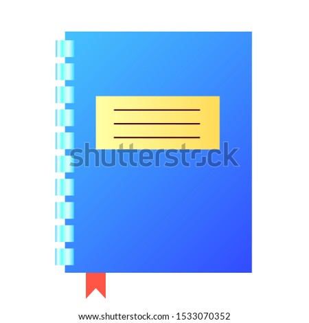 Notebook or notebook in blue with a metal spring and bookmark. Vector illustration, isolated object. View from above.