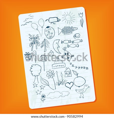 notebook page with doodle pictures