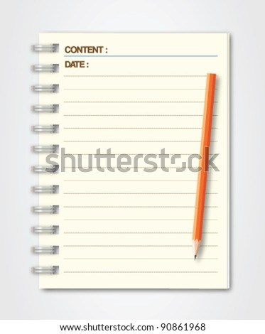 Notebook Page with Pencil Vector