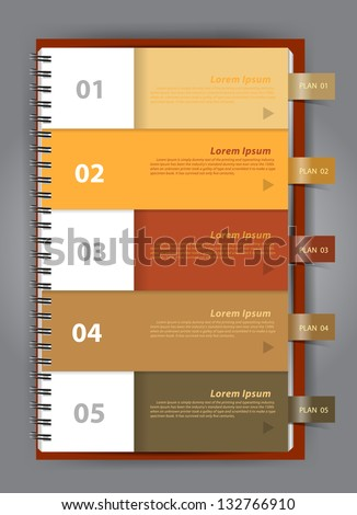 Notebook paper Modern Design template for infographics numbered Vector illustration