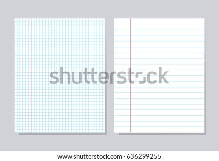 Notebook paper. Set of different notebook pages, vector illustration