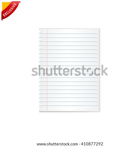 notebook paper, vector notebook paper background, isolated lined paper