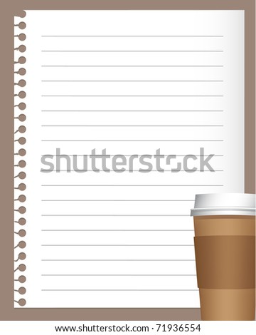 notebook paper with coffee or tea cup (jpg version is available)
