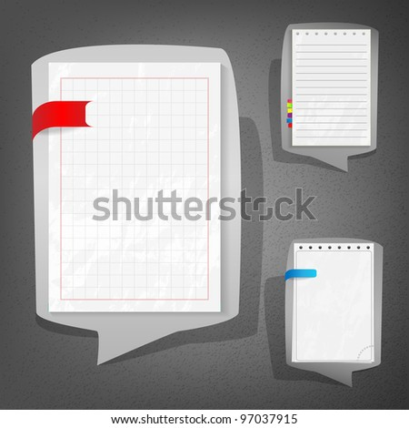 Notebook sheets in speech bubble style