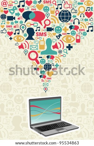 Notebook under social media icons on light texture background.  Vector file available.
