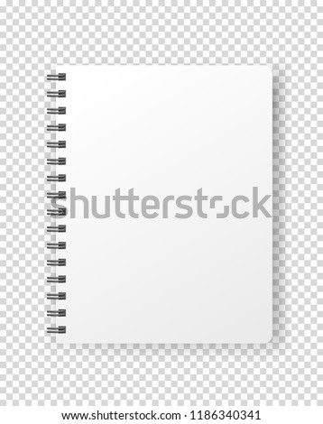 Notebook vector mockup. Vector object isolated on transparent background