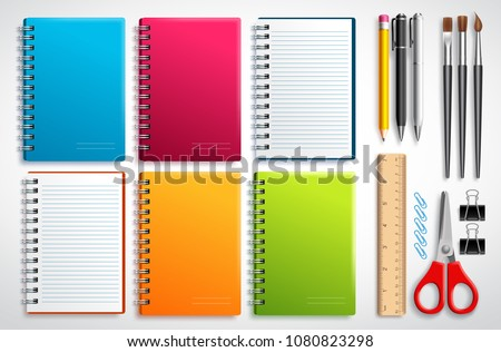 Notebook vector set with school items and office supplies isolated in white background for educational and back to school elements.