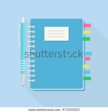 Notebook with bookmark and pen isolated on blue background. Notepad paper. Reminder, note. Business Planner. Diary. Journal. Vector illustration. Flat style