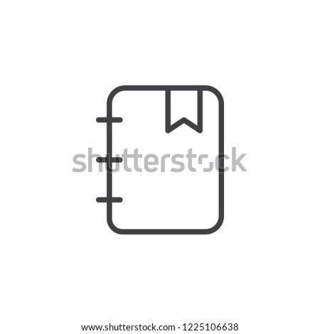 Notebook with bookmark outline icon. linear style sign for mobile concept and web design. Bookmarked notepad simple line vector icon. Symbol, logo illustration. Pixel perfect vector graphics