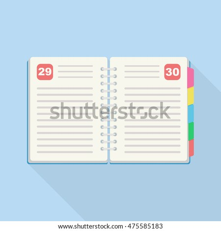 notebook with bookmarks