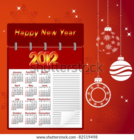 Notebook with calendar for 2012 and christmas balls. Vector.