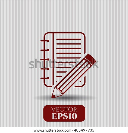 Notebook with pencil icon vector illustration