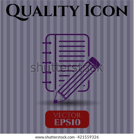notebook with pencil icon vector symbol flat eps jpg