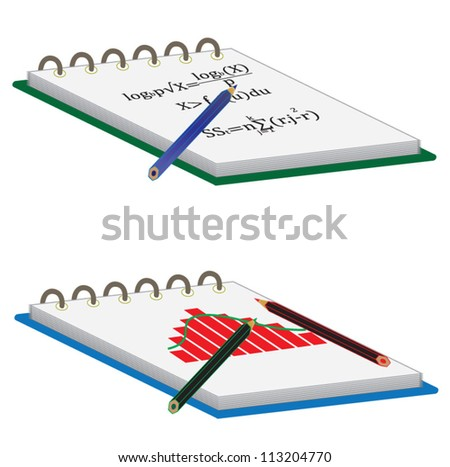 Notebook with pencil, school and mathematics subject
