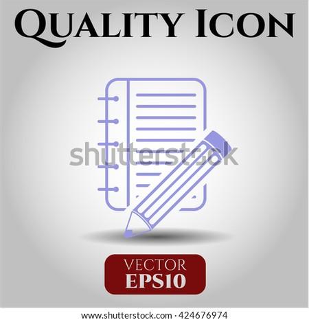 Notebook with pencil vector icon