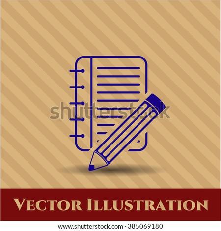 Notebook with pencil vector symbol
