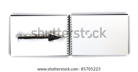 notebook with ripped paper arrow design