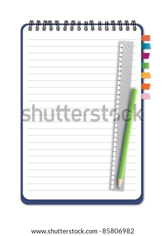 Notebook with ruler pencil vector