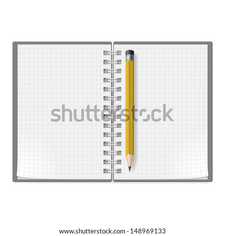 Notebook with sheets in a cage and yellow pencil. Illustration on white